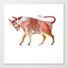 Pink Watercolor Taurus Canvas Print