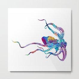 Colorful Purple Octopus Art Watercolor Gift Ocean Life Art Metal Print