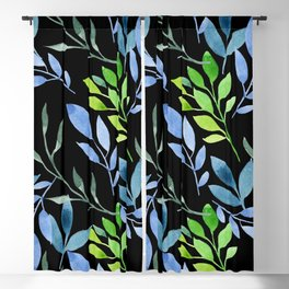 Blue and Green Leaves Blackout Curtain