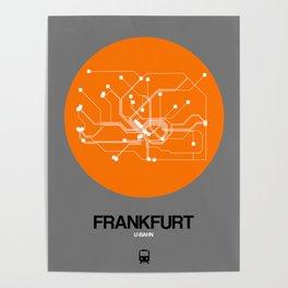 Frankfurt Orange Subway Map Poster