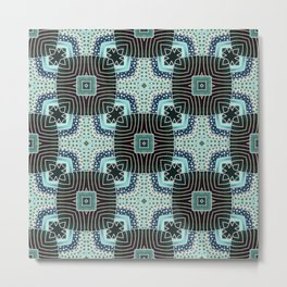 Squares Pattern in Teal and Green Metal Print