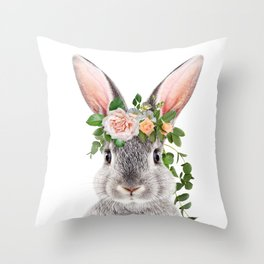 Baby Rabbit, Bunny With Flower Crown, Baby Animals Art Print By Synplus Throw Pillow