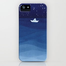 Paper boats illustration iPhone Case