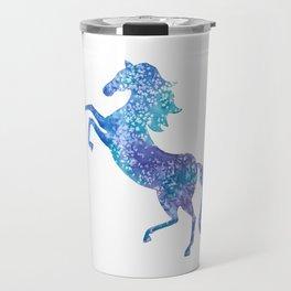 Celestial rearing blue horse Travel Mug