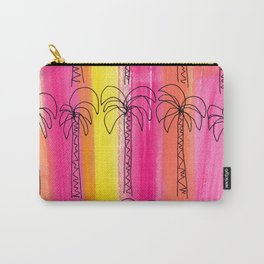 Live For the Moment (palm trees pattern summer beach tropical nature pink orange yellow stripes) Carry-All Pouch