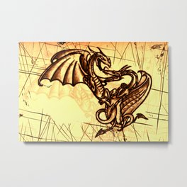 Battling Dragons - Mythical Creatures Metal Print