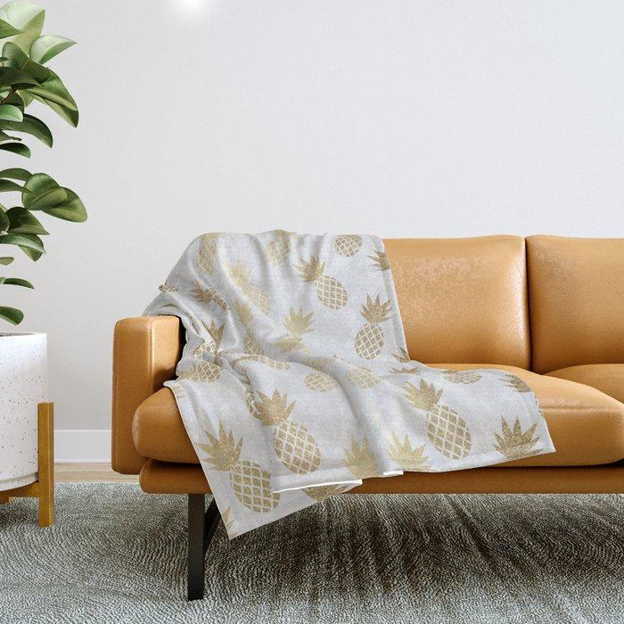 Gold Pineapple Pattern Throw Blanket
