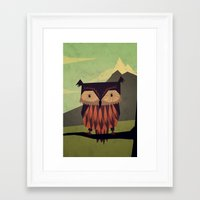 owl Framed Art Prints featuring Owl by Yetiland