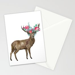 Boho Chic Deer With Flower Crown Stationery Cards