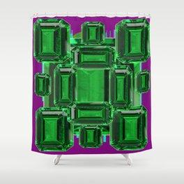Emerald Gems May Babies Birthstones on Purple Shower Curtain