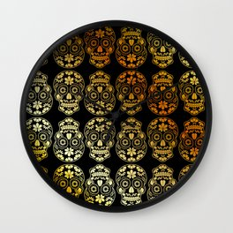 Golden Floral sugar skulls Wall Clock