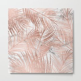 Tropical modern faux rose gold palm tree leaf white marble pattern Metal Print