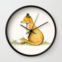 mr fox Wall Clocks featuring MR Fox by Lynette Sherrard Illustration and Design