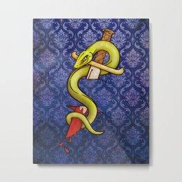 Knife and Snake tattoo print Metal Print