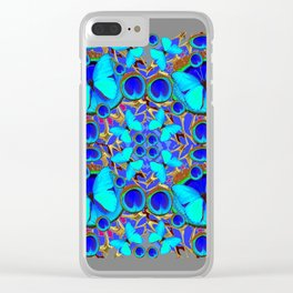 Abstract Decorative Aqua Blue Butterflies On Charcoal Grey Art Clear iPhone Case