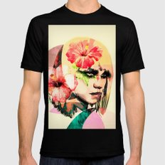 WOMAN WITH FLOWERS 4 Black Mens Fitted Tee MEDIUM