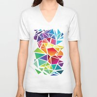 triangles V-neck T-shirts featuring Triangles by Veronika
