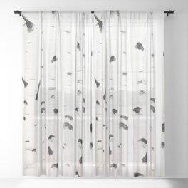 birch  watercolor Sheer Curtain