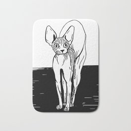 Black and White Sphynx Cat Line Drawing - Sphynx Lovers Gift - Naked Cat - Wrinkly Kitty Bath Mat