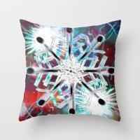 snowflake Throw Pillows featuring Snowflake by Sarah Maurer