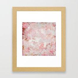 Vintage Floral Rose Roses painterly pattern in pink Framed Art Print