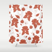 vintage floral Shower Curtains featuring Vintage Floral by She's That Wallflower