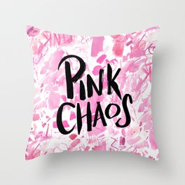pink chaos Throw Pillow