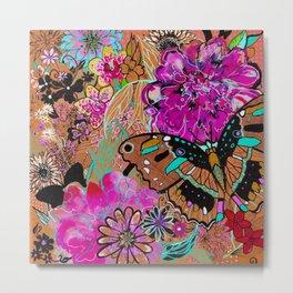 Neon Butterflies Metal Print