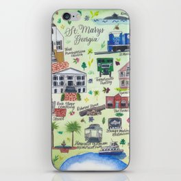 """""""Downtown St. Marys, GA"""" Watercolor Map iPhone Skin"""