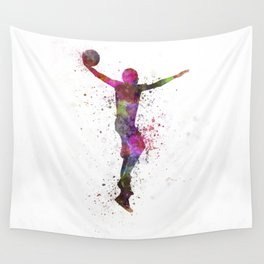 young man basketball player dunking Wall Tapestry