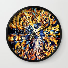 Exploded with Flame Blue phone Box iPhone 4 4s 5 5c 6, pillow case, mugs and tshirt Wall Clock