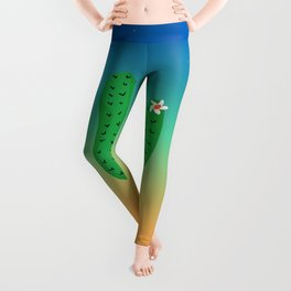 Sunset, moon , cactus with white flowers , desert climate , sun and sand ,cactus ideas,cactus not a hugger Leggings
