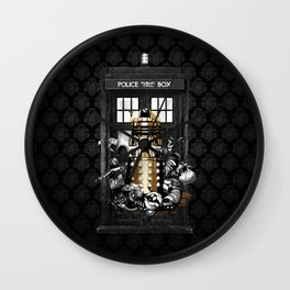Tardis With Black Pattern Wall Clock