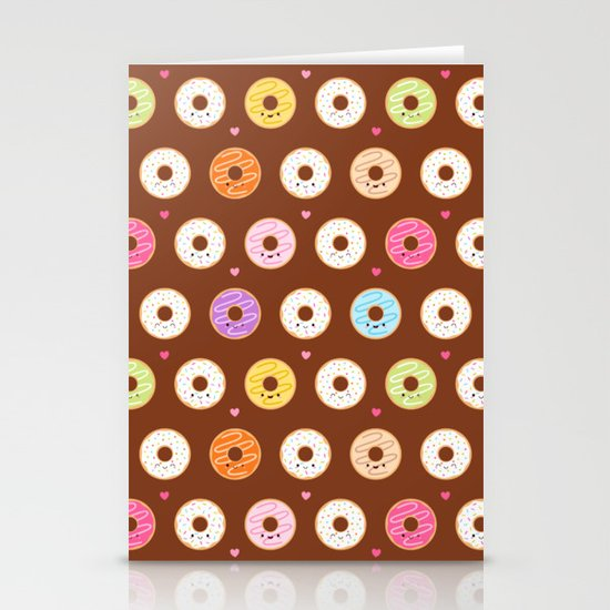 Kawaii Donuts Pattern on Brown Stationery Cards