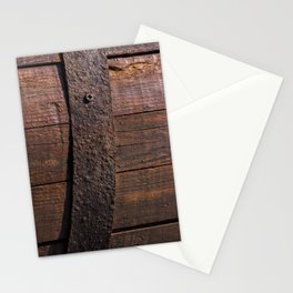 Old wood and rusty metal of a barrel Stationery Cards