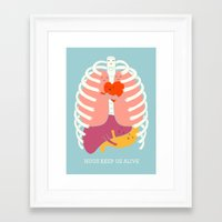 ilovedoodle Framed Art Prints featuring Hug keep us alive by I Love Doodle