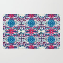 Red White and Blue Abstract Rug