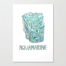 Aquamarine Gemstone / March Birthstone Watercolor Painting / Illustration Canvas Print