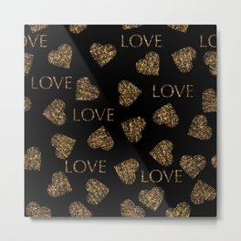 Valentines day gold pattern with stylish heart and text Metal Print