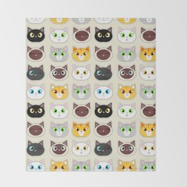 Cute Cat Expressions Pattern Throw Blanket