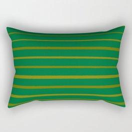 Emerald Green and Honey Gold Thin Stripes Rectangular Pillow