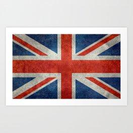 """UK Union Jack flag """"Bright"""" retro grungy style Art Print"""