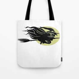 Flying Witch On Broomstick With A Big Moon Tote Bag