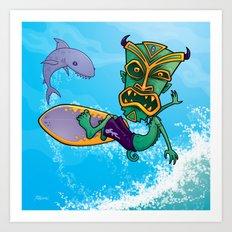 Tiki Surfer Art Print