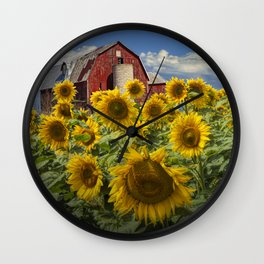 Golden Blooming Sunflowers with Red Barn Wall Clock