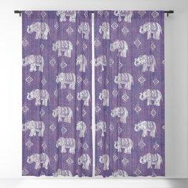 Elephants on Linen - Amethyst Blackout Curtain