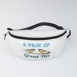 Pair of Great Tits Funny Bird watching Gift Fanny Pack
