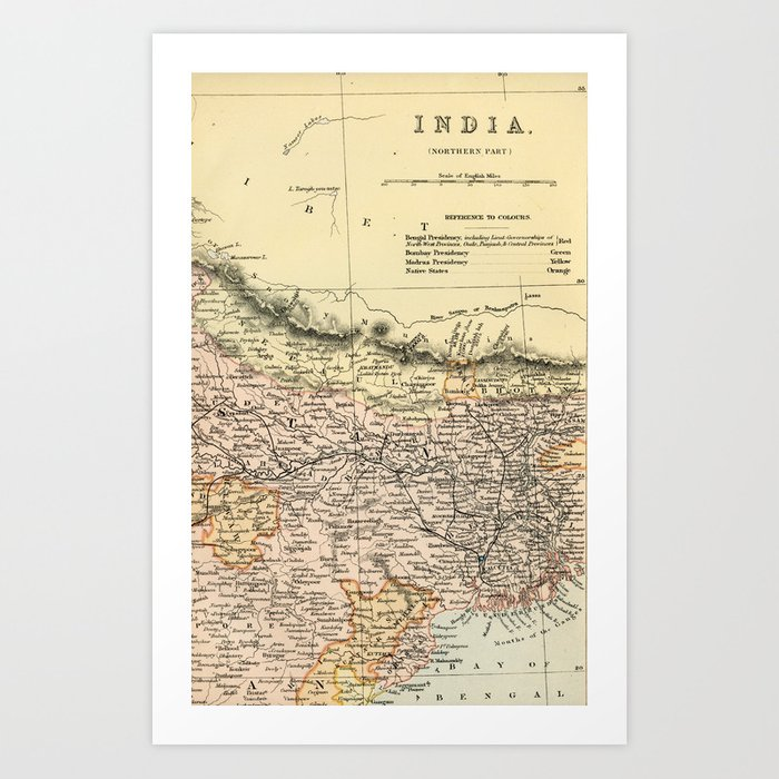 Vintage And Retro Map Of Northern India Art Print By Graphikz Society6