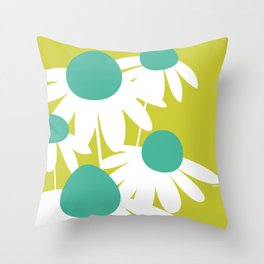 Flowers on Green by Friztin Throw Pillow