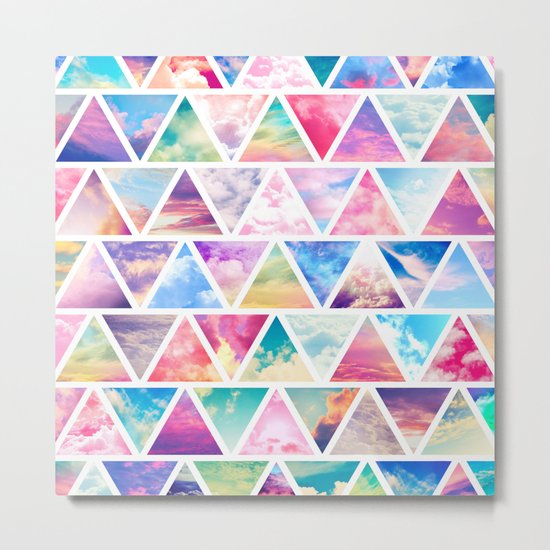 Pink Clouds Teal Sky Abstract Triangles Pattern Metal Print